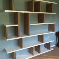 Gloss white & walnut shelving - Radley